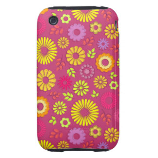 Cute colorful and pink summer flowers tough iPhone 3 cases