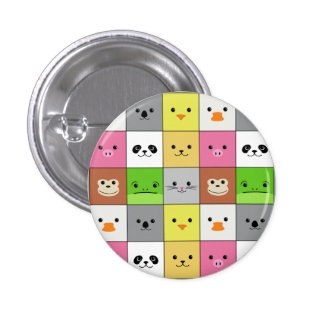 Cute Colorful Animal Face Squares Pattern Design 3 Cm Round Badge