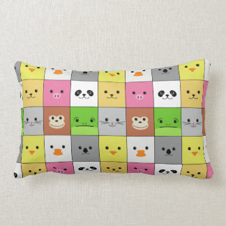 Cute Colorful Animal Face Squares Pattern Design Lumbar Cushion