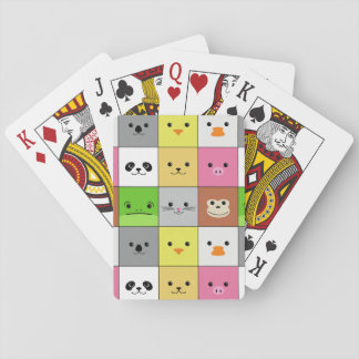 Cute Colorful Animal Face Squares Pattern Design Playing Cards