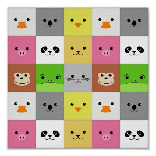 Cute Colorful Animal Face Squares Pattern Design Posters