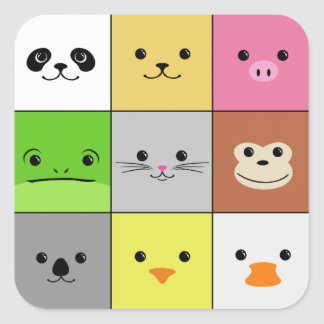 Cute Colorful Animal Face Squares Pattern Design Sticker