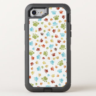 Cute Colorful Animal Footprints Pattern OtterBox Defender iPhone 8/7 Case