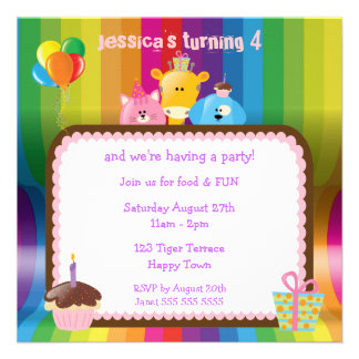 Cute Colorful Animals Girls Birthday Party Personalized Announcement