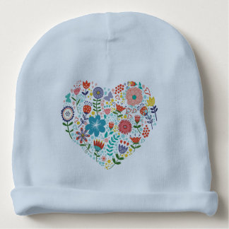 Cute Colorful Assorted Flowers Heart Illustration Baby Beanie