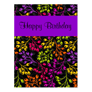 Cute colorful autumn fruits Birthday Postcard