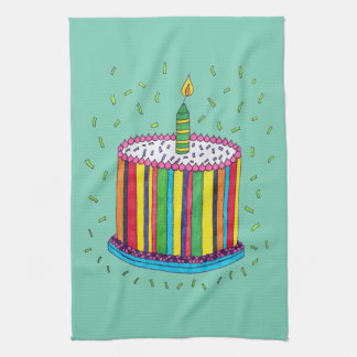 Cute Colorful Birthday Party Cake Tea Towel