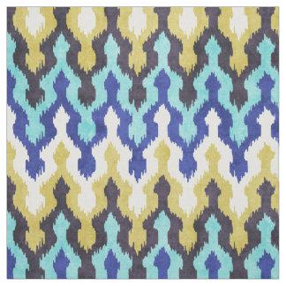 Cute colorful blue yellow chevron ikat pattern fabric