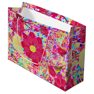 Cute colorful bright flowers large gift bag