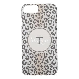 Cute colorful brown beige cheetah print monogram iPhone 8/7 case