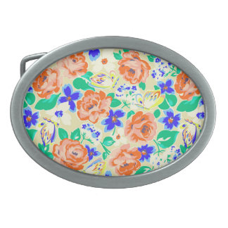 Cute colorful butterflies roses patterns belt buckle