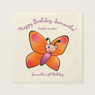Cute Colorful Butterfly Cartoon Disposable Serviettes
