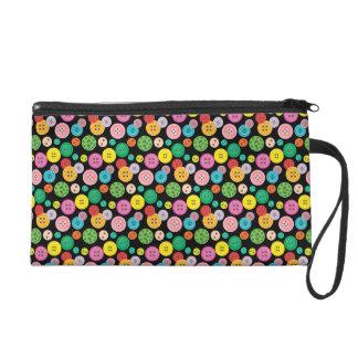 Cute colorful button pattern wristlet purse