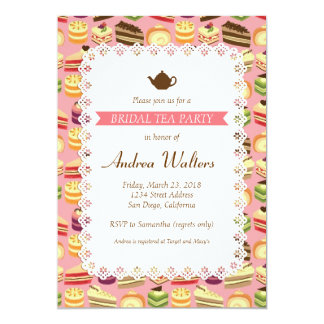 Cute Colorful Cakes Illustration Bridal Tea Party Card