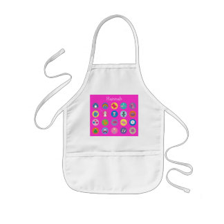 Cute Colorful Cartoon Icons Pink Personalized Kids Apron