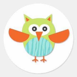 Cute colorful cartoon owl round sticker