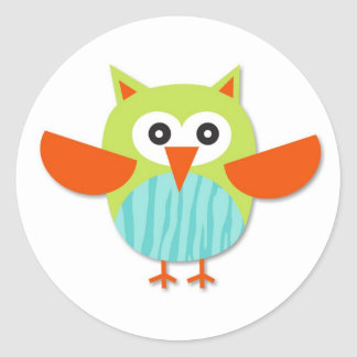 Cute colorful cartoon owl stickers