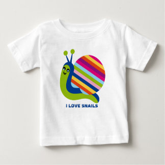 Cute Colorful Cartoon Style Snails-I Love Snails Baby T-Shirt