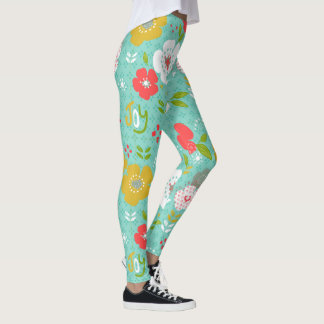 Cute Colorful Christmas Flowers & Text Joy Leggings