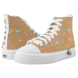 Cute Colorful Christmas Gingerbread Man Pattern High Tops