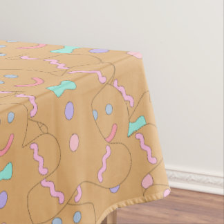 Cute Colorful Christmas Gingerbread Man Pattern Tablecloth