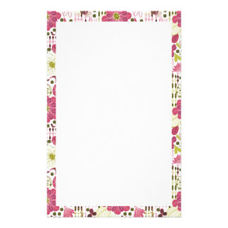 Cute colorful classic floral pattern custom stationery