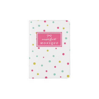Cute Colorful Confetti Dots Pattern Wanderlust Passport Holder