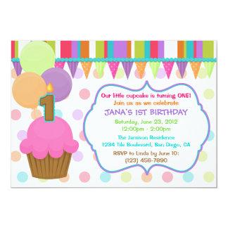 Cute Colorful Cupcake Birthday Invitation [one]