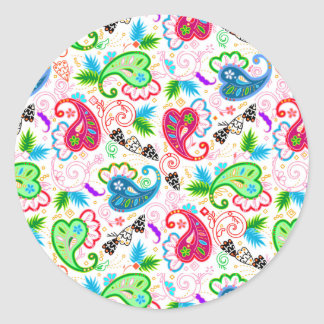 Cute colorful decorative flowers patterns round sticker