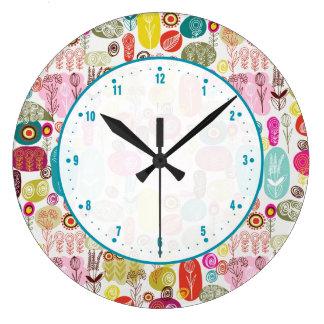Cute Colorful Doodle Floral Design Large Clock
