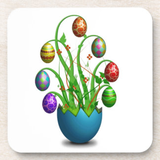 Cute Colorful Easter Egg Tree Beverage Coasters