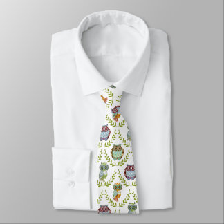 Cute Colorful Fall Colors Owls Pattern Tie