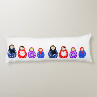 Cute Colorful  Family Of Russian Dolls Body Cushion