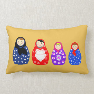 Cute Colorful  Family Of Russian Dolls Lumbar Cushion