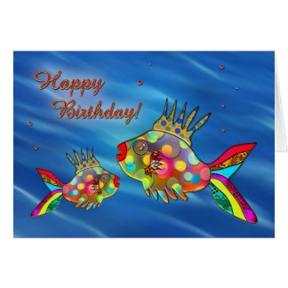 Cute Colorful Fish Birthday Card