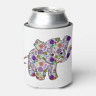Cute Colorful Floral Baby Elephant Can Cooler