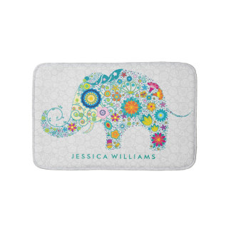 Cute Colorful Floral Elephant Bath Mats