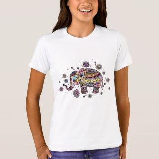 Cute Colorful Floral Elephant T-Shirt