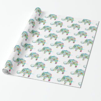 Cute Colorful Floral Elephants Pattern Wrapping Paper
