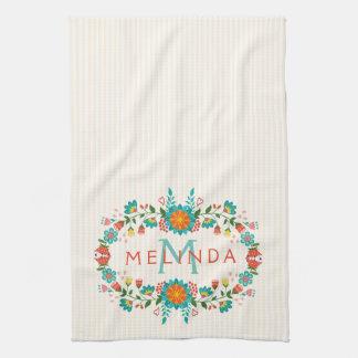Cute Colorful Floral Frame Tea Towels