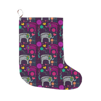 Cute colorful floral hearts elephant pattern large christmas stocking
