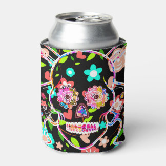 Cute colorful floral skull can cooler