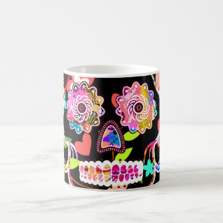 Cute colorful floral skull coffee mug