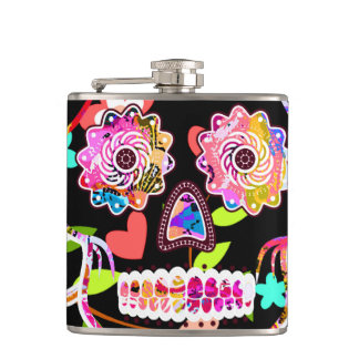 Cute colorful floral skull hip flask