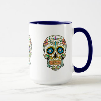 Cute Colorful Floral Sugar Skull Illustration Mug