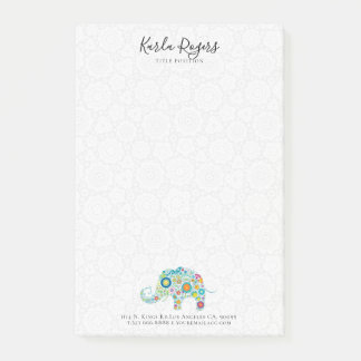 Cute Colorful Flowers Elephant Post-it Notes