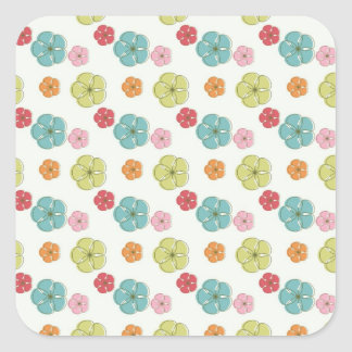Cute Colorful Flowers Pattern Blue Green Orange Square Stickers