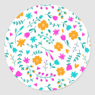Cute colorful flowers pattern classic round sticker