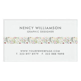 Cute Colorful Flowers Pattern Stripe Name Tag
