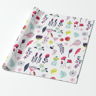 Cute Colorful Flowers Pattern Wrapping Paper